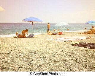 chiudere, spiaggia sabbia, su