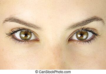 chiudere, strabiliante, occhi verdi, su