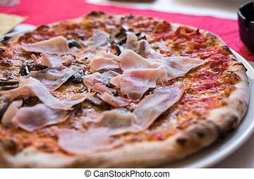chiudere, tavola., su, pizza