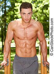 chiudere, uomo, su, forma muscolare