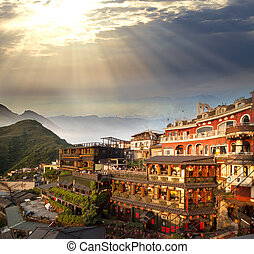 Chiufeng, New Taipei, Taiwan. Series mountains in Keelung...