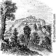 Chiusi in Tuscany, Italy vintage engraving
