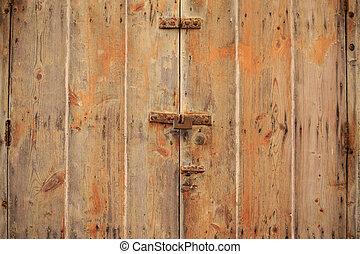 chiuso, alterato, details., su, chiuso chiave, fondo, legno, marrone, porta, arrugginito, chiudere, porta, vista, padlock.