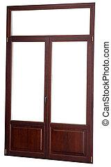 chiuso, finestra, doppio, lustrato, scuro, mogano, colorare, isolato, su, wh