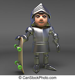 Chivalour knight in plate metal armour holding a skateboard, 3d illustration