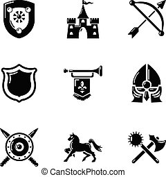 Chivalric icons set, simple style - Chivalric icons set....