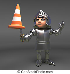 Chivalrous knight in armour bravely combats a traffic cone, 3d illustration