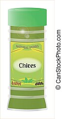 Chives - A 'Chives' herb and spice jar isolated on a white...