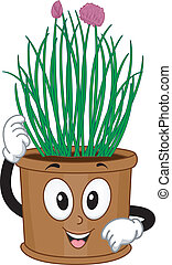 Chives Mascot - Mascot Illustration Featuring a Pot of...