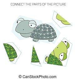 chldren, puzzle, tortue, jeu