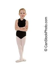 Chlid Ballerina Student Wearing Dance Class Attire