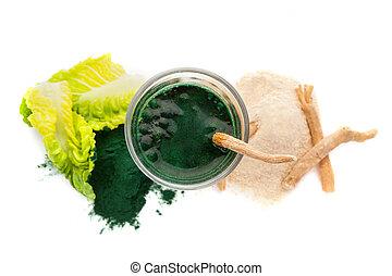 chlorella, lé, elszigetelt, háttér., zöld white, ashwagandha