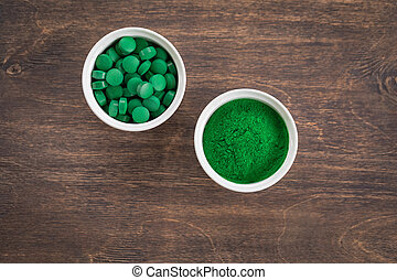 Chlorella or spirullina health-care products, pills, powder