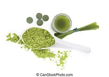 chlorella, spirulina, et, blé, grass.
