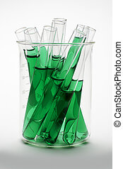 Glass scientific flask contains several test tubes of green chlorophyll extract shot on white background with soft shadow