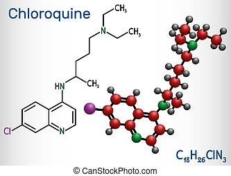 Chloroquine, chloraquine, aminoquinoline, C18H26ClN3 ...