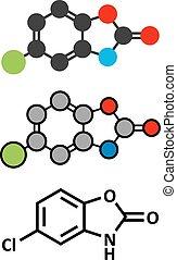 Chlorzoxazone muscle relaxant drug molecule.