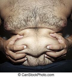 chlupatý, břicho, ztloustnout osoba