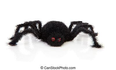 chlupatý, hrůzný, hračka, čerň, pavouk