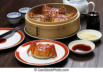 chlupatý, kuchyň, shanghai, krab, číňan