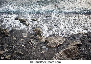 chlupocząc, plaża, fale