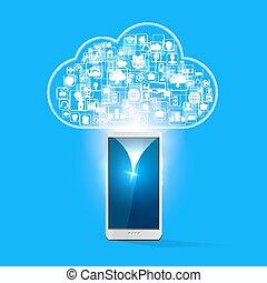 chmura, apps, upload, ilustracja