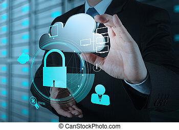 chmura, bezpieczeństwo, pokażcie handlowy, biznesmen, internetowa ikona, kłódka, 3d, online, ręka, pojęcie
