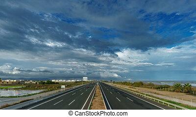 chmura, górny, morze, autostrada, upływ czasu, prospekt