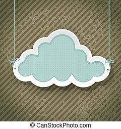 chmura, grunge, retro, tło, znak