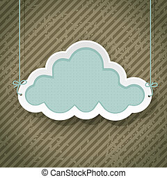 chmura, jak, retro, znak, na, grunge, tło