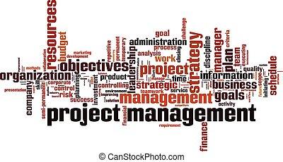 chmura, kierownictwo, projekt, słowo
