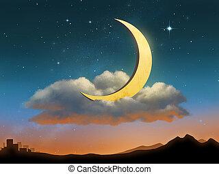chmura, księżyc, spoczynek