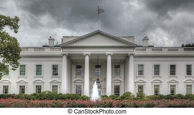 chmura, na, biały dom