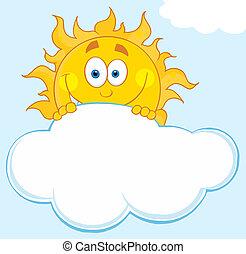 chmura, na, szczęśliwy, słońce, patrząc