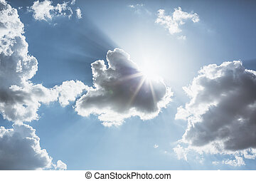 chmura, słońce, przez, lustrzany