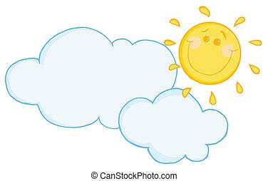 chmura, szczęśliwy, ruchomy, słońce, pod