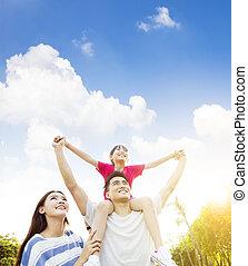 chmura, tło, asian rodzina, szczęśliwy