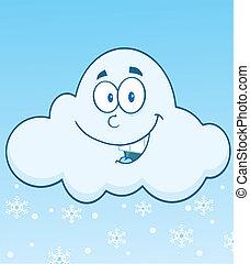chmura, uśmiechanie się, płatki śniegu