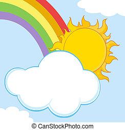 chmura, za, słońce, krycie