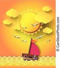 chmury, łódka, nawigacja, sunset.