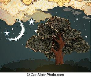 chmury, drzewo, rysunek, księżyc