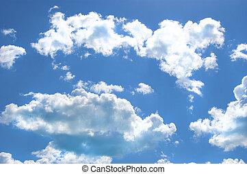chmury, i błękitny, niebo