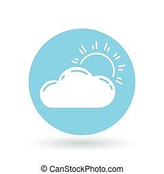 chmury, illustration., słońce, poznaczcie., symbol., ...