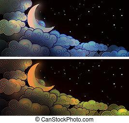 chmury, księżyc