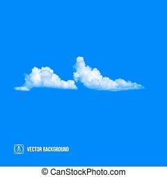 chmury, na, błękitny, sky., wektor