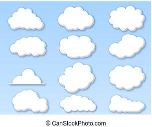 chmury, na, pochmurny, błękitne niebo