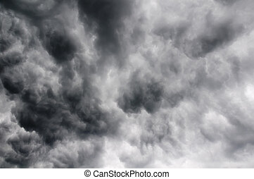 chmury, niebo, burza
