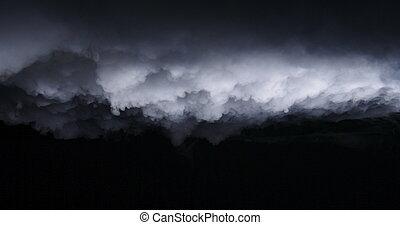 chmury, realistyczny, suchy lód, dym, mgła