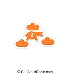 chmury, rzeźnik, papier, świnka, szykowny, bank