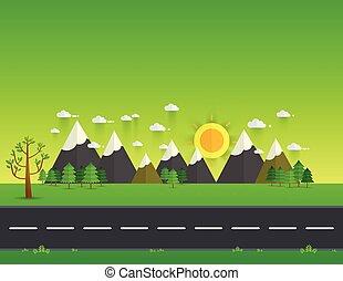chmury, słońce, górki, niebo, zielone góry, dolina, droga